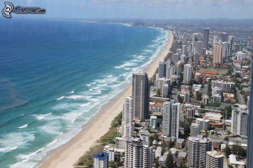Gold Coast, wieżowce, plaża piaszczysta, morze