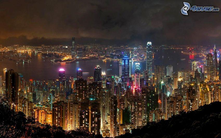 Hong Kong, Chiny, noc, oświetlenie, wieżowce, widok na miasto