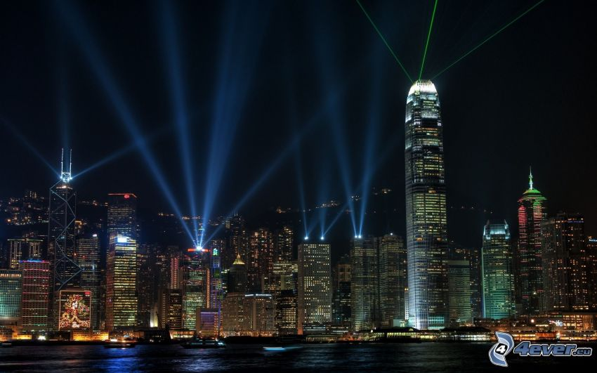 Hong Kong, Two International Finance Centre, wieżowce, światła, miasto nocą