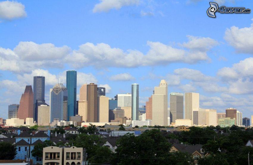 Houston, wieżowce, chmury