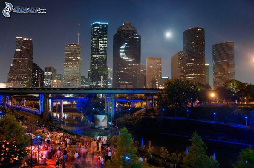 Houston, wieżowce, miasto nocą, most