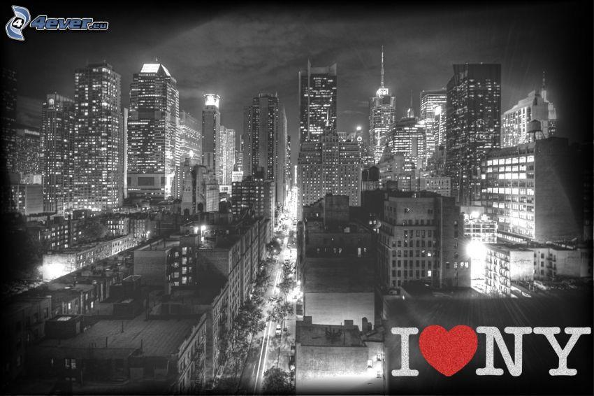 I love NY, miasto nocą, czarno-białe zdjęcie