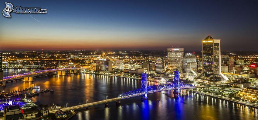 Jacksonville, miasto nocą, wieżowce, oświetlony most