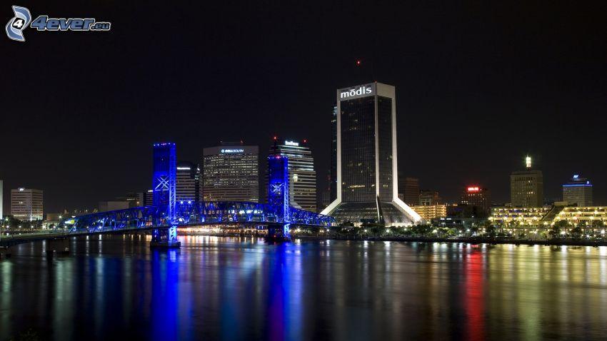 Jacksonville, wieżowce, miasto nocą, oświetlony most