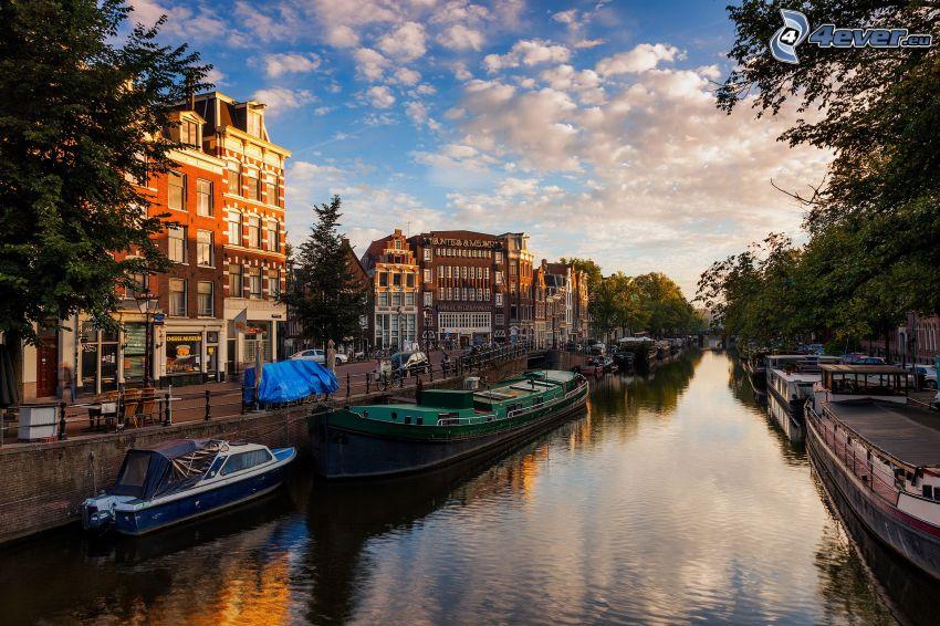 kanał, łódki, domy, Amsterdam
