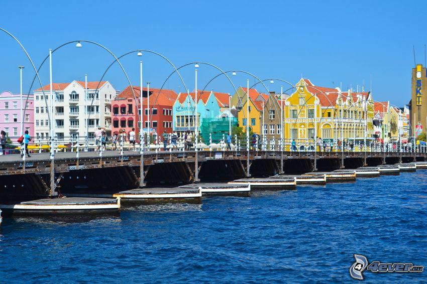kolorowe domy, molo, Curaçao