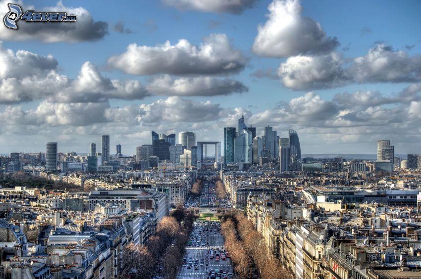 La Défense, Paryż, chmury, ulica
