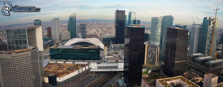 La Défense, wieżowce, dźwig, Paryż
