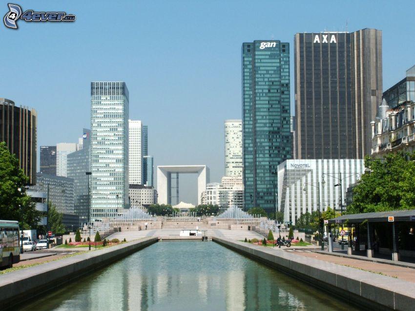 La Défense, wieżowce, fontanna, Paryż