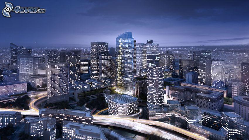 La Défense, wieżowce, miasto nocą, Paryż