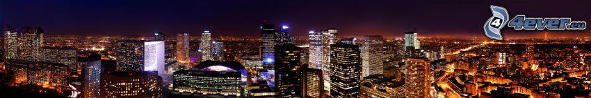 La Défense, wieżowce, panorama, miasto nocą, Paryż