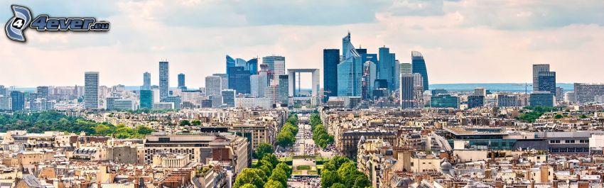 La Défense, wieżowce, panorama, Paryż