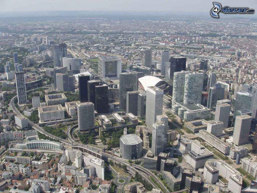 La Défense, wieżowce, Paryż, widok z lotu ptaka