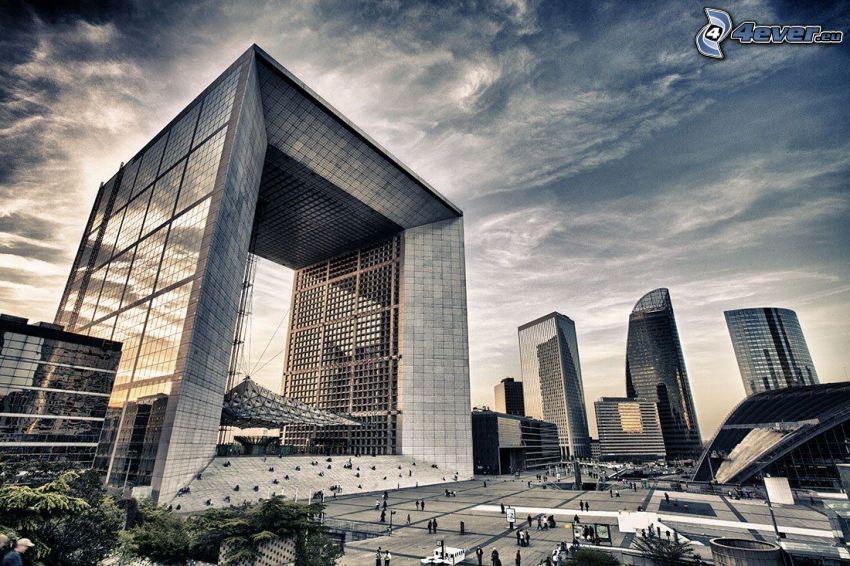 La Défense, wieżowce, plac, Paryż