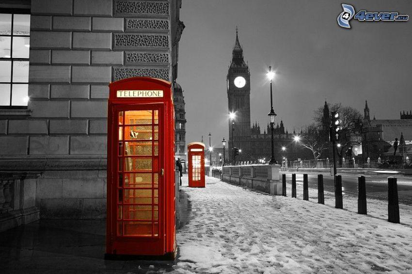 Londyn, budki telefoniczne, Big Ben, śnieg, wieczór