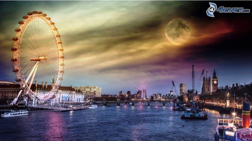 Londyn, wieczór, księżyc