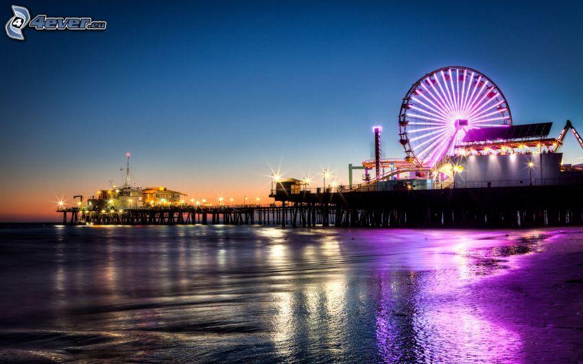 Los Angeles, rzeka, wieczór, karuzela