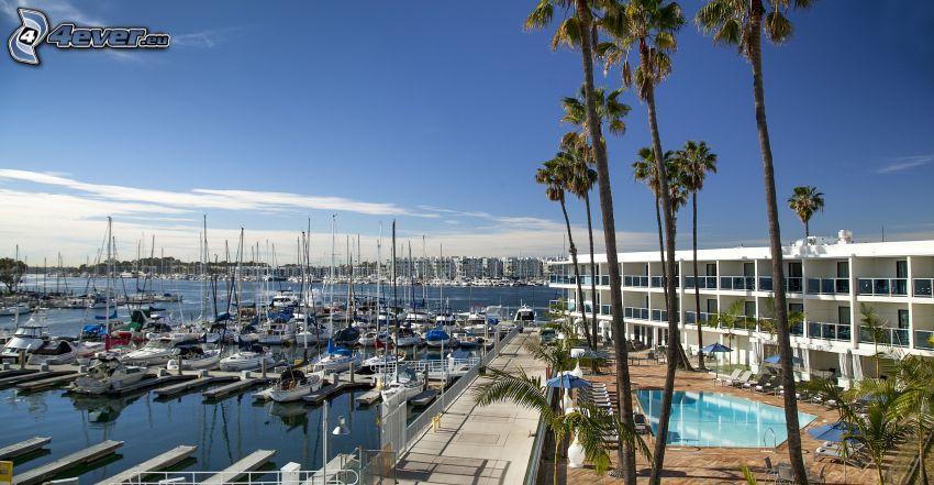 Marina Del Rey, port, statki, palmy, Kalifornia