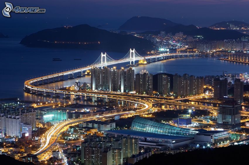 miasto nocą, oświetlony most