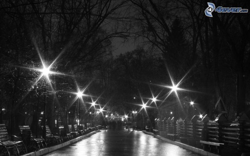 miasto nocą, park, uliczne oświetlenie