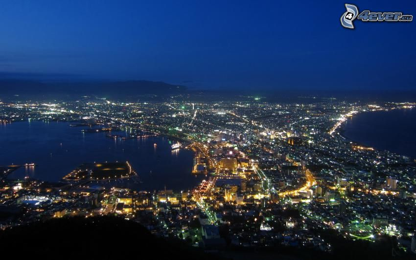 miasto nocą, widok na miasto
