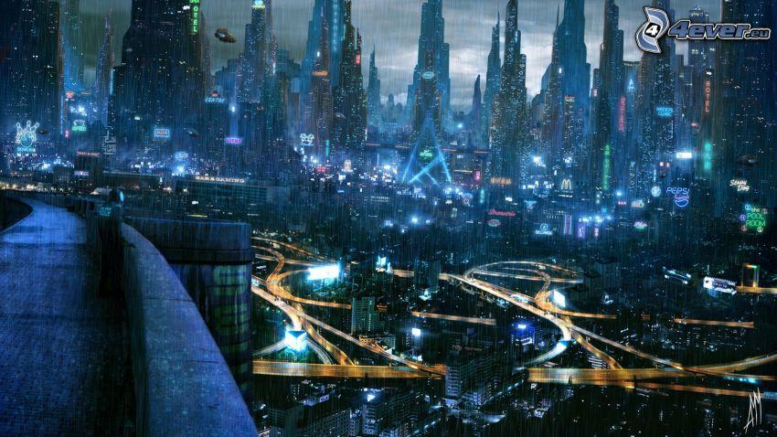 miasto nocą, wieżowce, deszcz