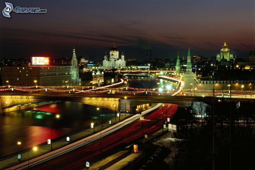 Moskwa, Rosja, miasto nocą