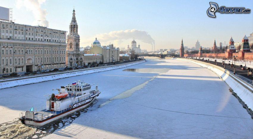 Moskwa, Rosja, śnieg, lód