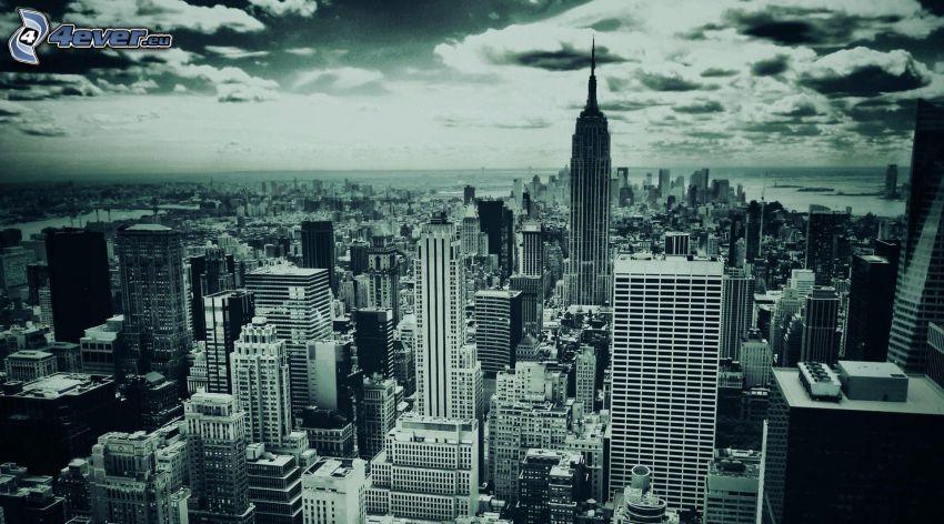 New York, budowle, czarno-białe zdjęcie
