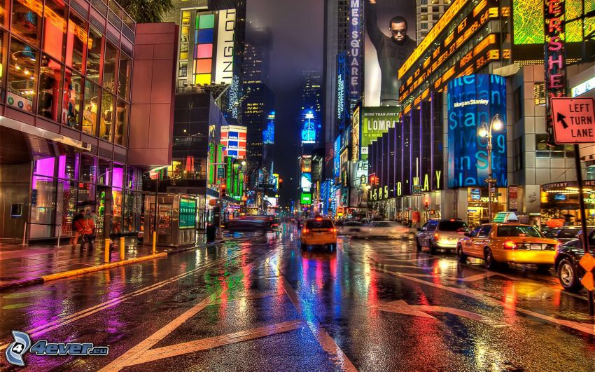 New York, miasto nocą, NYC Taxi