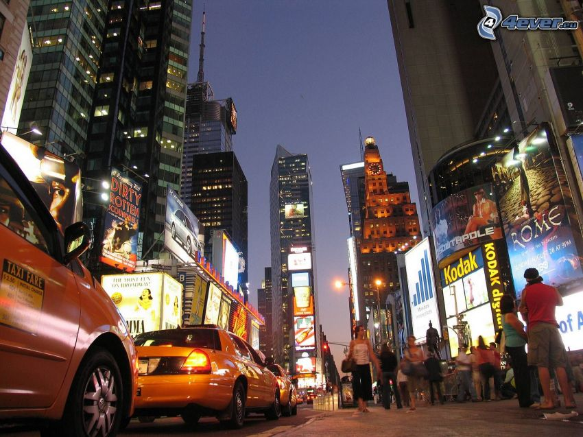 New York, NYC Taxi, miasto nocą