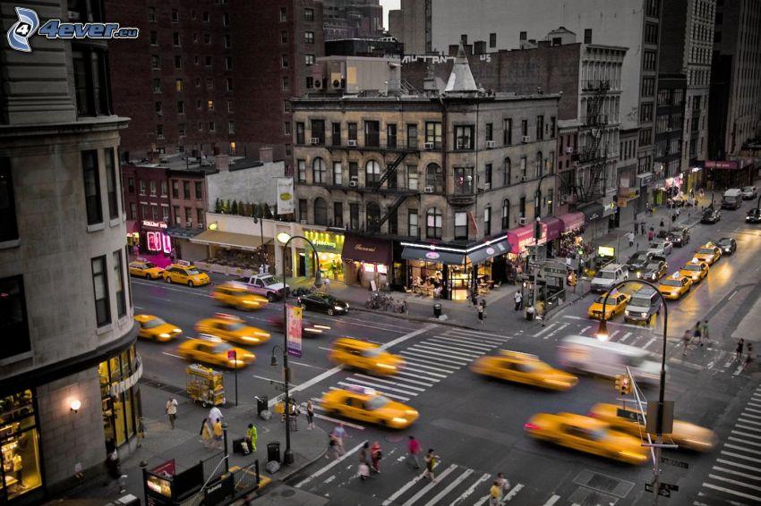 New York, skrzyżowanie, NYC Taxi