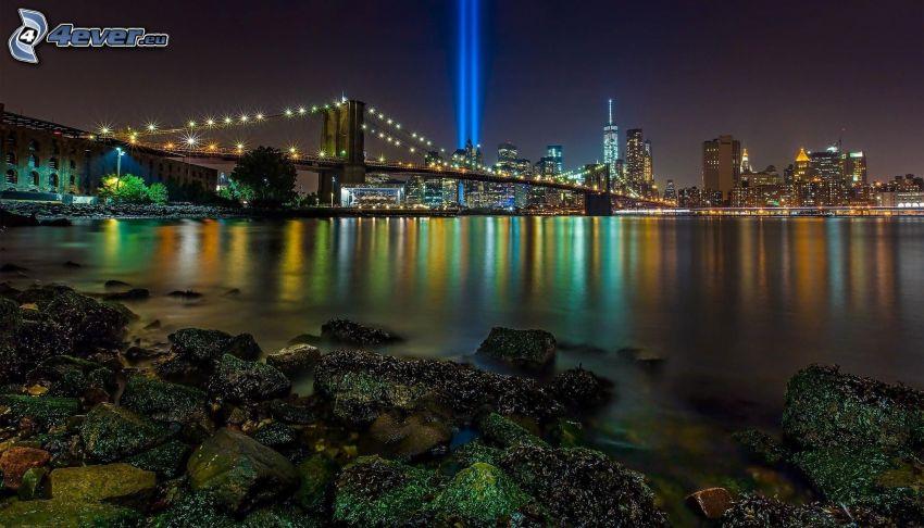 New York nocą, Brooklyn Bridge, Manhattan