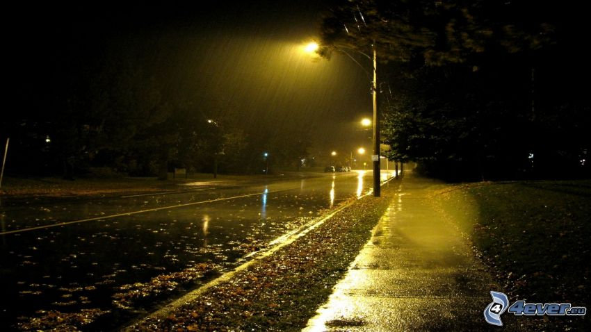nocna ulica, uliczne oświetlenie, deszcz