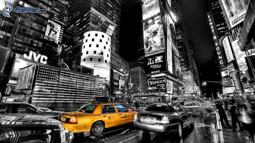 NYC Taxi, miasto nocą, New York