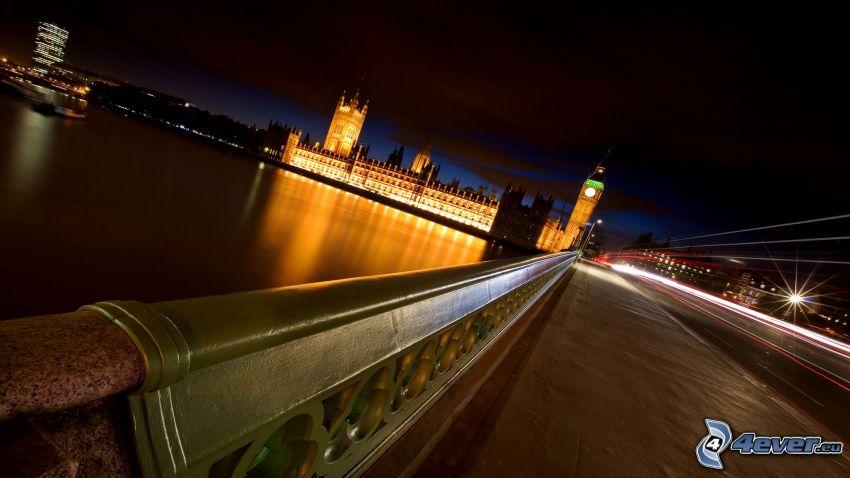 Pałac Westminsterski, Brytyjski parlament, Big Ben, Tamiza, miasto nocą