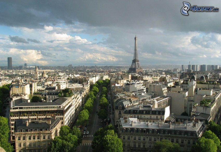 Paryż, Francja, Wieża Eiffla, widok na miasto