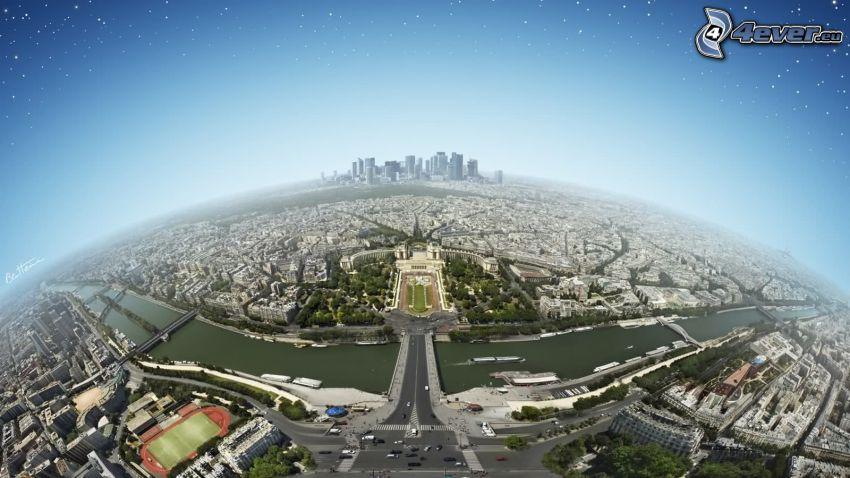 Paryż, widok na miasto, Wieża Eiffla, La Défense