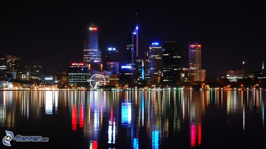 Perth, wieżowce, diabelski młyn, miasto nocą