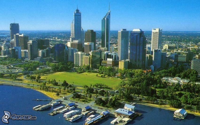Perth, wieżowce, park
