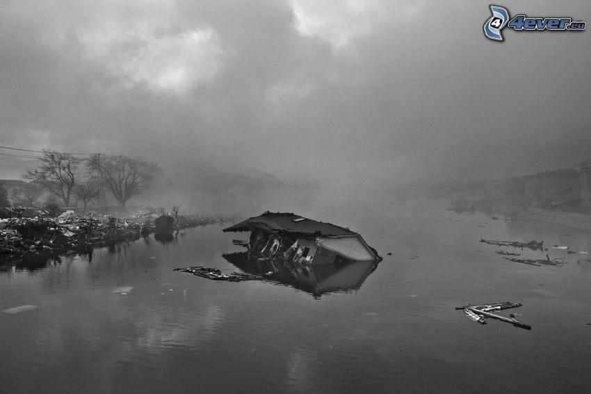 powódź, dom, stare zdjęcie, czarno-białe zdjęcie
