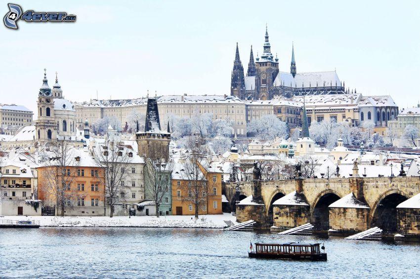 Praga, Zamek Praski, Most Karola, Wełtawa, śnieg