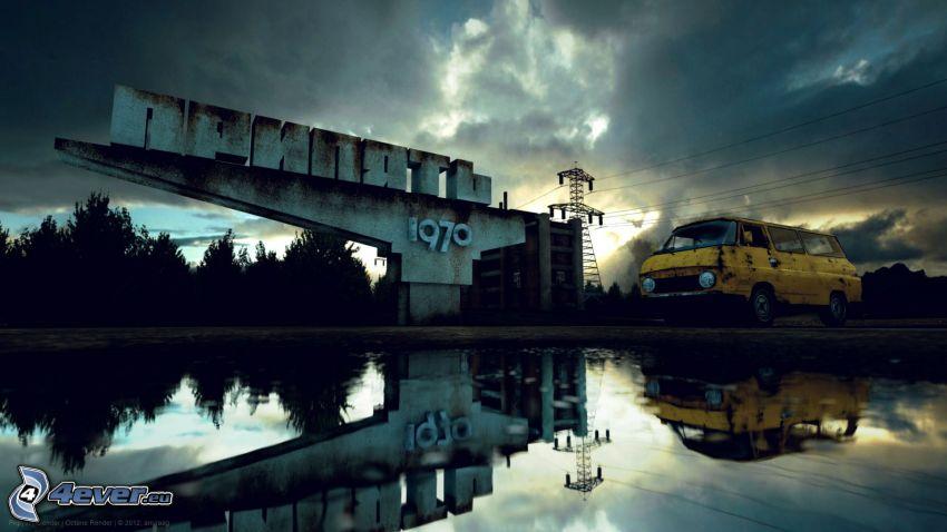 Prypeć, 1970, auto dostawcze, jezioro, odbicie, ciemne chmury