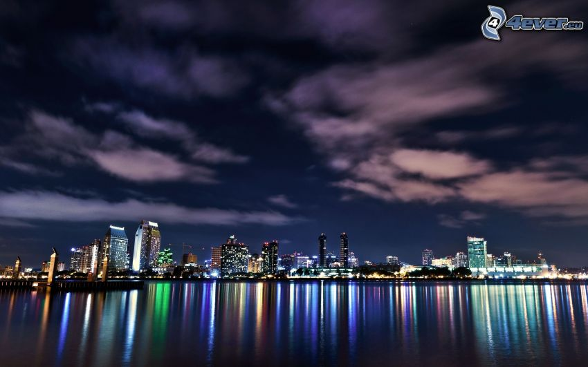 San Diego, miasto nocą, niebo