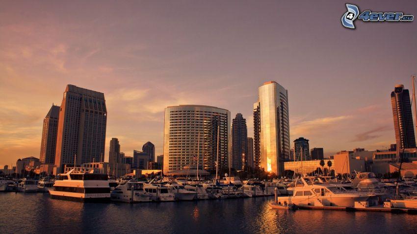 San Diego, wieżowce, przystań dla jachtów