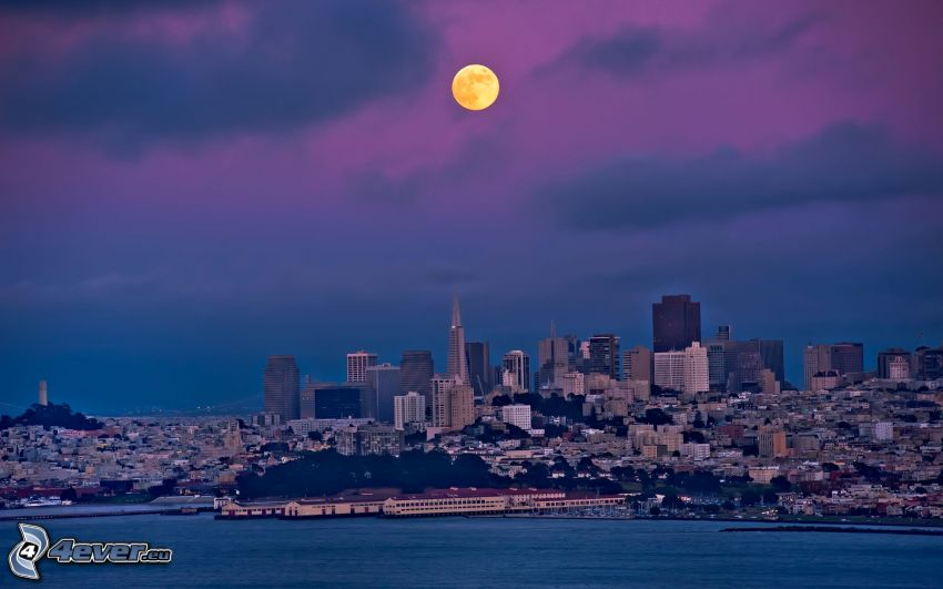 San Francisco, pomarańczowy księżyc, miasto wieczorem