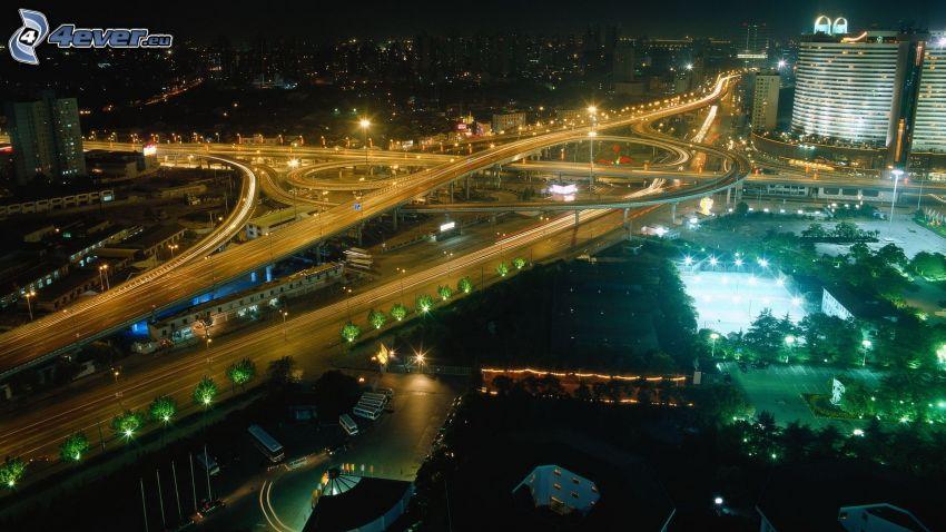 skrzyżowanie autostrad, Chiny, mosty, noc