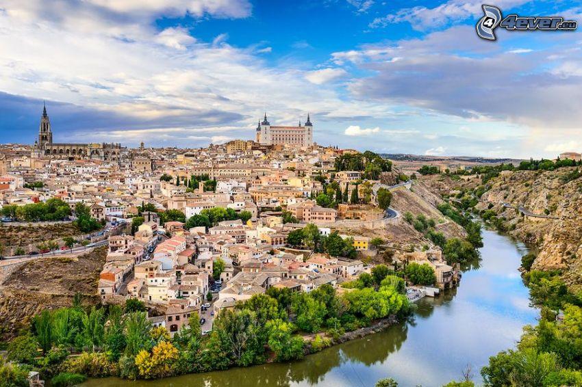 Toledo, Alcázar de Toledo, rzeka, HDR