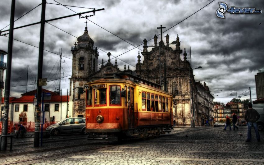 tramwaj, miasto, kościół, HDR