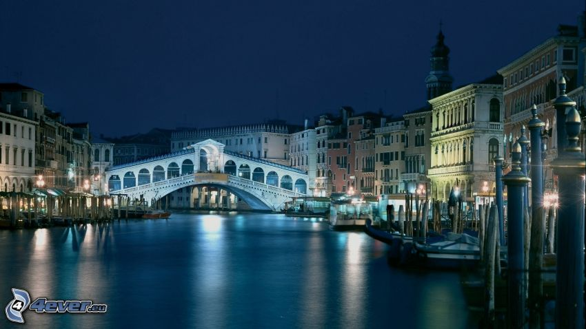 Wenecja, Włochy, most, woda, statki